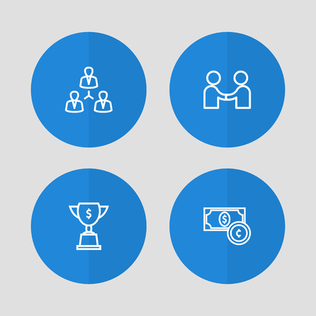 Set of 4 business icons line style set. Collection of goblet, unity, meeting and other elements.