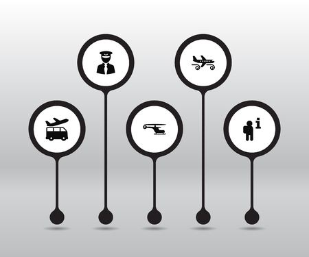 Set of 5 airplane icons set. Collection of turbulence, pilot, info and other elements. Иллюстрация