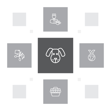 Set of 5 animals icons line style set. Collection of head, pet crate, veterinarian and other elements.