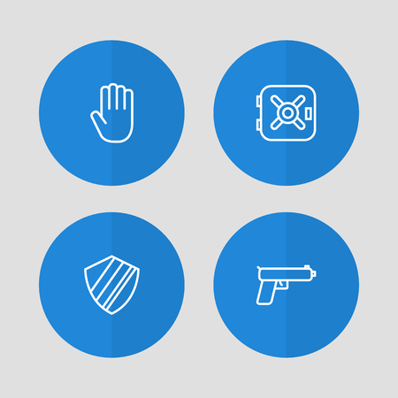 Set of 4 procuring icons line style set. Collection of gun, vault, palm and other elements. Stock Vector - 103900715