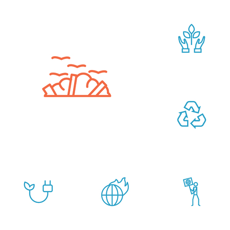 Set of 6 atmosphere icons line style set. Collection of protection, rubbish, fire and other elements. Illustration