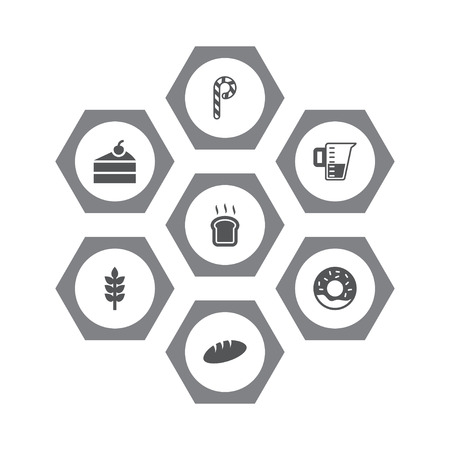 Set of 7 bakery icons set. Collection of cheesecake, wheat, bread and other elements.