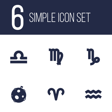Set of 6 horoscope icons set. Collection of libra, moon, aries and other elements.