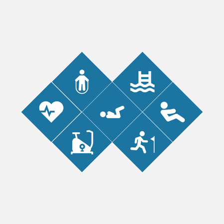 Set of 7 bodybuilding icons set. Collection of exercise bike, jump training, crunches and other elements. Stock Photo
