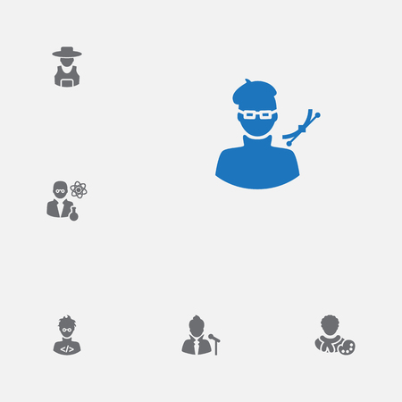 Set of 6 job icons set. Collection of scientist, singer, designer and other elements.