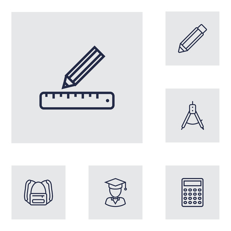 Set of 6 science icons line style set. Collection of diplomaed male, pencil, drawing tool and other elements. Çizim