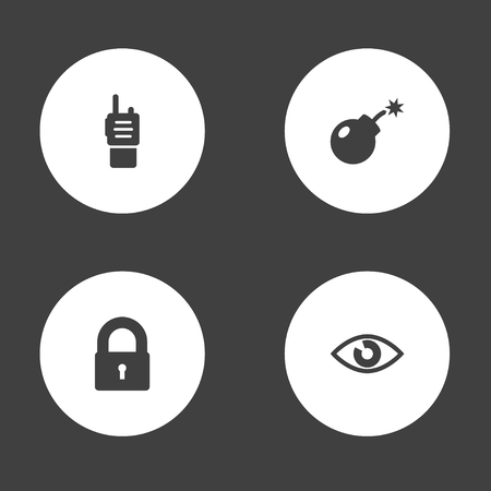 Set of 4 security icons set. Collection of lock, eye, bomb and other elements.