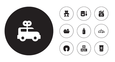 Set of 10 kid icons set. Collection of clockwork car, bottle, nursing pillow and other elements.
