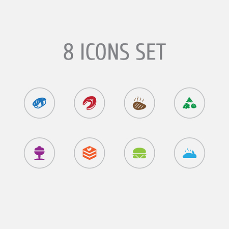 Set of 8 food icons set. Collection of raw fish, beefsteak, ice cream and other elements. Çizim