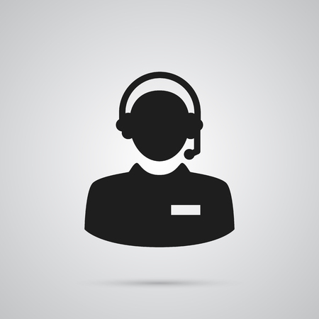 Isolated call center icon symbol on clean background. Vector hotline element in trendy style. Çizim