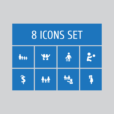 Set of 8 relatives icons set. Collection of grandfather, homosexual, kindergarten elements.