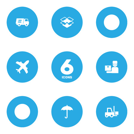 Set of 6 shipping icons set. Collection of plane, courier, protect from moisture and other elements.