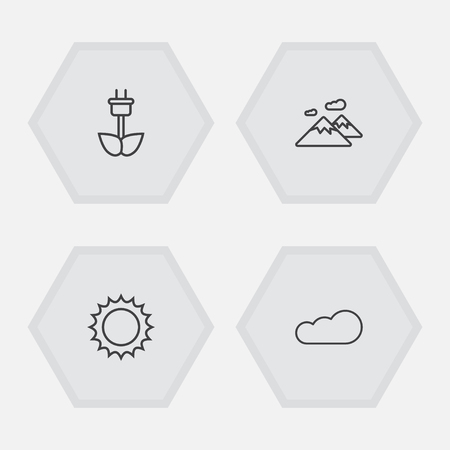 Set of 4 natural icons line style set. Collection of pinnacle, green power, solar and other elements.