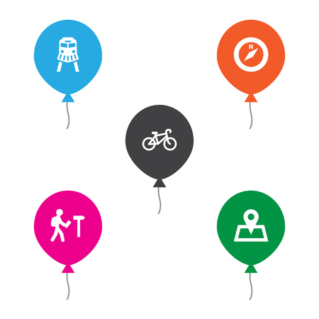 Set of 5 journey icons set. Collection of map pin, compass, tourist and other elements. Illustration