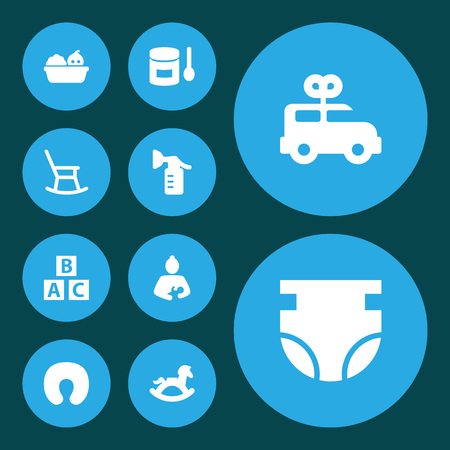 Set of 10 baby icons set. Collection of diaper, clockwork car, nursing pillow and other elements. Illustration