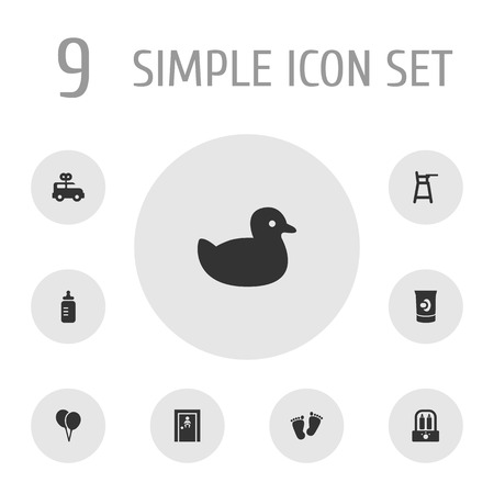 Set of 9 child icons set. Collection of balloon, rubber, clockwork car and other elements.
