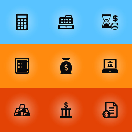 Set of 9 budget icons set. Collection of cash register, online banking, calculator and other elements.