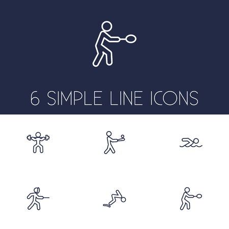 Set of 6 sport icons line style set. Collection of swimming, fencing, weightlifting and other elements. Illustration