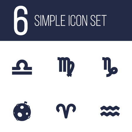 Set of 6 galaxy icons set. Collection of libra, moon, aries and other elements.