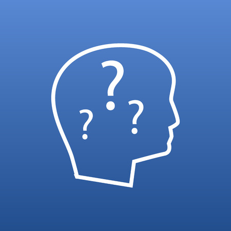 Isolated mental disease icon line symbol on clean background. Vector brain with question element in trendy style.