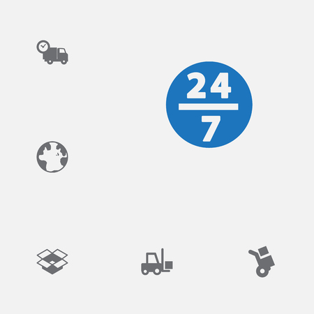 Set of 6 cargo icons set. Collection of forklift, box, 247 and other elements.