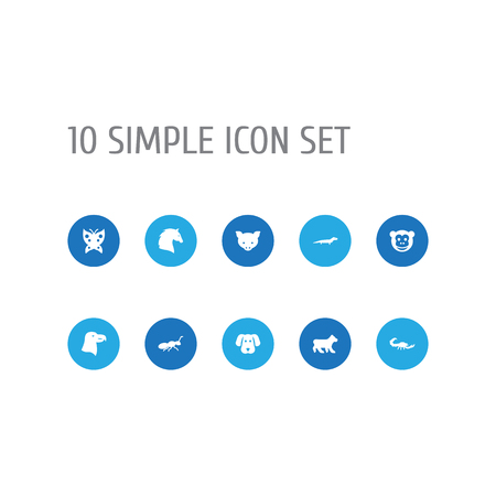 Set of 10 animal icons set. Collection of dog, bear, horse and other elements.