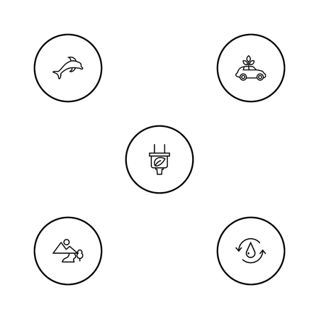 Set of 5 ecology icons line style set. Collection of leaf, air, treatment and other elements. Illustration