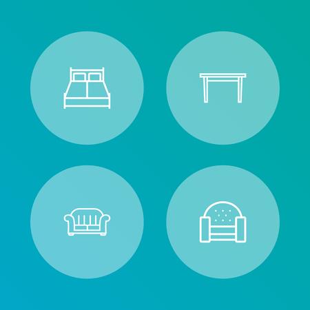 Set van 4 decor pictogrammen lijn stijlenset. Collectie van bank, eettafel, fauteuil en andere elementen. Vector Illustratie