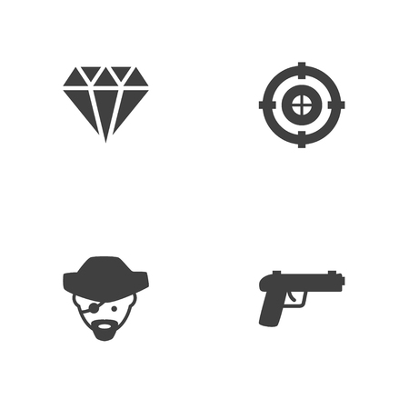 Set of 4 gaming icons set. Collection of pirate, crystal, gun and other elements.