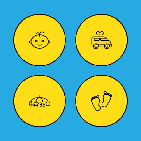 Set of 4 child icons line style set. Collection of baby, bus, trace and other elements.