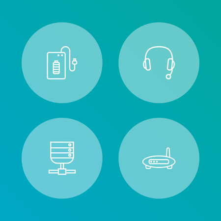 Set of 4 notebook icons line style set. Collection of supply, headset, datacenter and other elements.