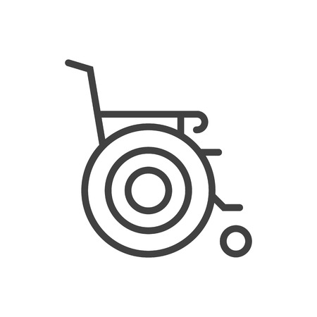 Isolated wheelchair icon line symbol on clean background. Vector stroller element in trendy style.
