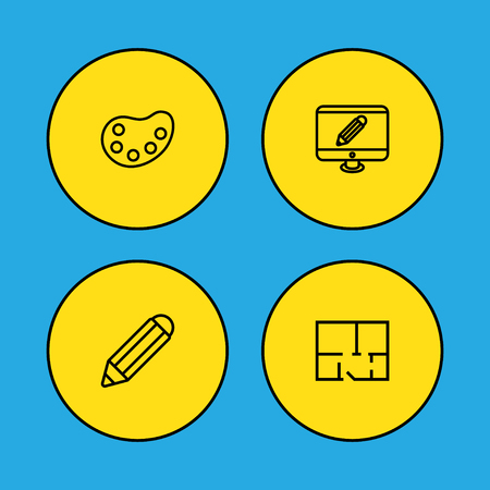 Set of 4 constructive icons line style set. Collection of artist, screen, scheme and other elements.
