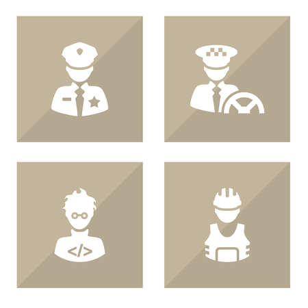 Set of 4 job icons set. Collection of policeman, programmer, taxi and other elements.