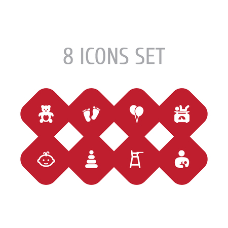 Set of 8 child icons set. Collection of footprints, boy, balloon and other elements.