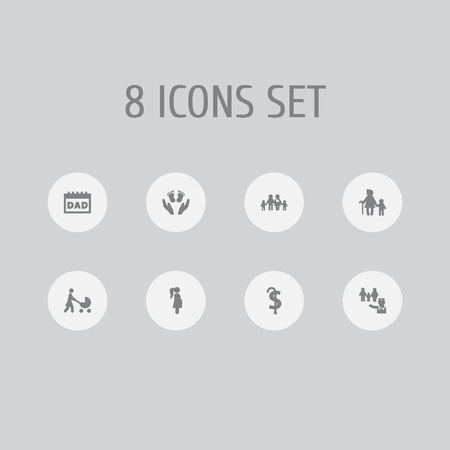Set of 8 people icons set. Collection of pregnant woman, retirement, doctor and other elements. Standard-Bild - 127054205