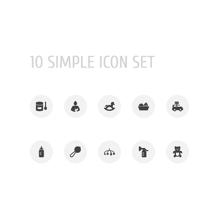 Set of 10 baby icons set. Collection of mother, clockwork car, rocking horse and other elements.