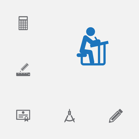 Set of 6 science icons set. Collection of pencil, ruler, diploma and other elements.