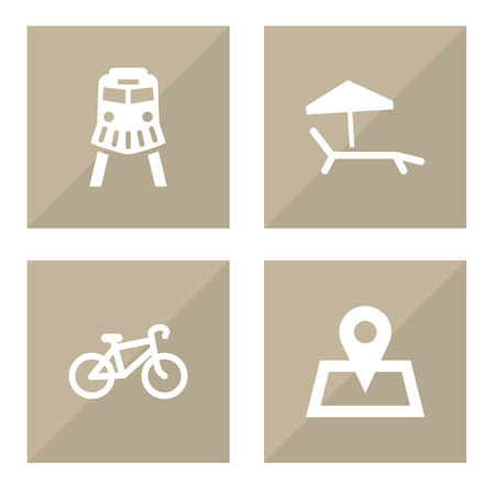 Set of 4 journey icons set. Collection of bicycle, sunbed, map pin and other elements.