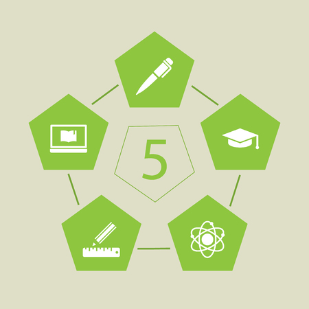 Set of 5 education icons set. Collection of ruler, laptop, pen and other elements.