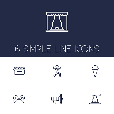 Set of 6 amusement icons line style set. Collection of curtain, joystick, disco and other elements.