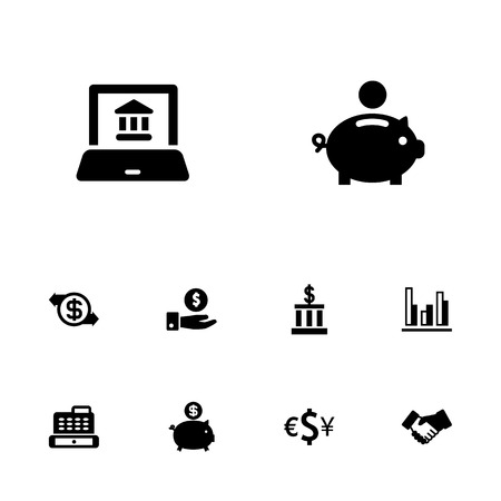Set of 10 budget icons set. Collection of statistic, money box, online banking and other elements.