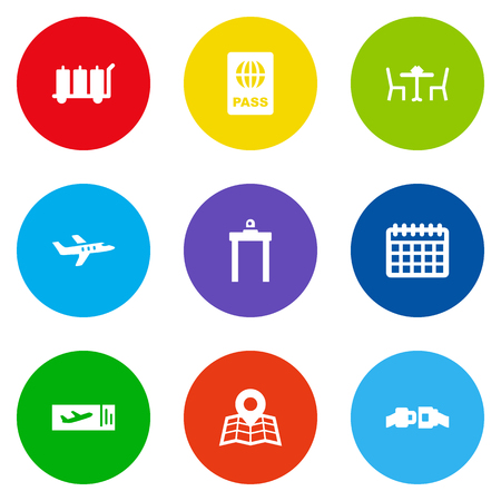 Set of 9 airplane icons set. Collection of coupon, airport security, airplane and other elements.
