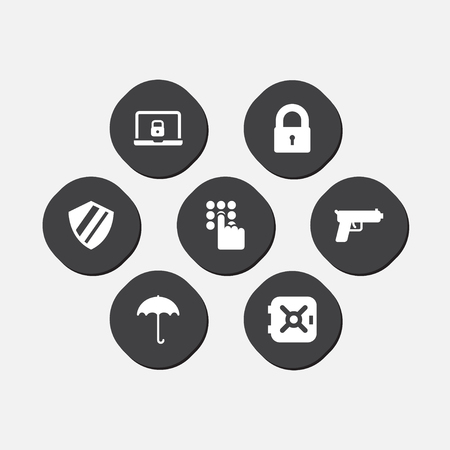 Set of 7 safety icons set. Collection of umbrella, shield, password and other elements. Standard-Bild - 127054216