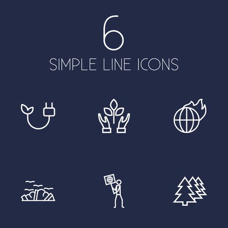 Set of 6 ecology icons line style set. Collection of volunteer, green energy, rubbish and other elements.