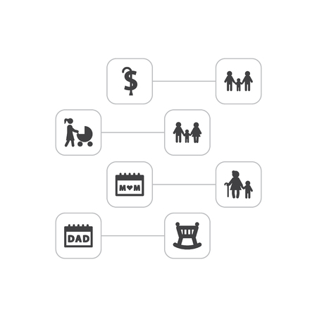 Set of 8 relatives icons set. Collection of calendar, homosexual, crib and other elements. Imagens