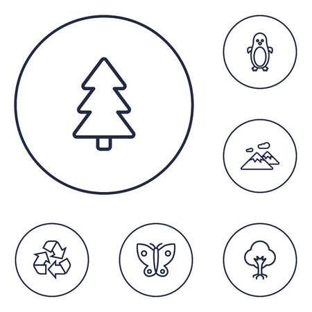 Set of 6 bio icons line style set. Collection of polar bird, conservation, pinnacle and other elements.