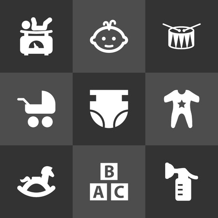Set of 9 kid icons set. Collection of scales, pump, drum and other elements.