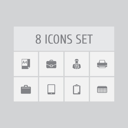 Set of 8 bureau icons set. Collection of printing machine, administrator, tablet and other elements.