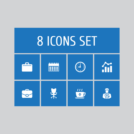 Set of 8 bureau icons set. Collection of almanac, hot drink, clock and other elements.